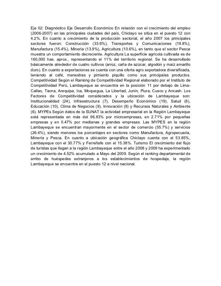Eje 02: Diagnóstico Eje Desarrollo Económico En relación con el crecimiento del empleo(2006-2007) en las principales ciuda...