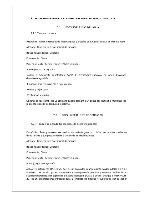 Manual de poes for Manual de limpieza y desinfeccion en restaurantes