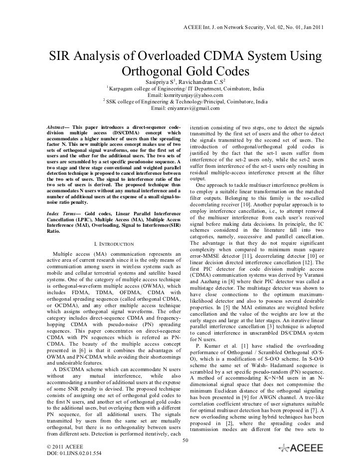 ACEEE Int. J. on Network Security, Vol. 02, No. 01, Jan 2011SIR Analysis of Overloaded CDMA System Using            Orthog...