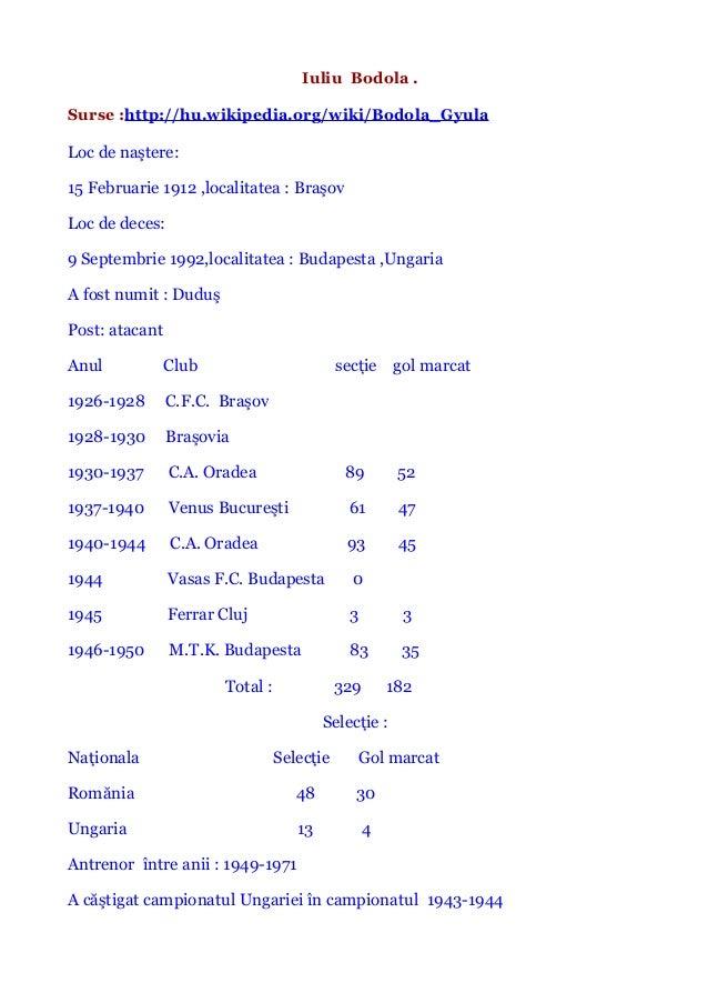 Iuliu Bodola . Surse :http://hu.wikipedia.org/wiki/Bodola_Gyula Loc de naştere: 15 Februarie 1912 ,localitatea : Braşov Lo...
