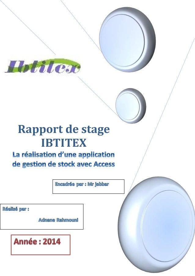 Rapport de stage IBTITEX