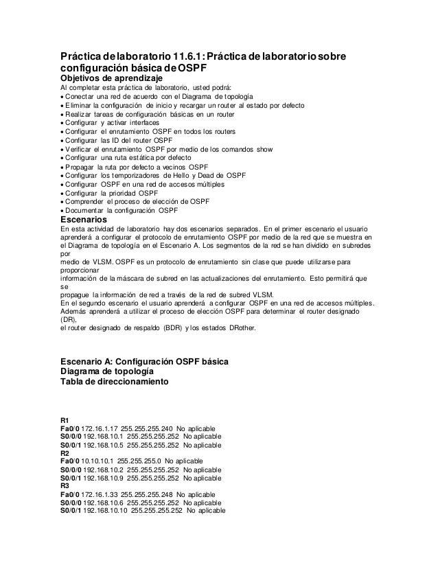 Práctica de laboratorio 11.6.1:Práctica de laboratoriosobre configuración básica de OSPF Objetivos de aprendizaje Al compl...