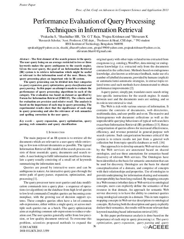 Performance Evaluation of Query Processing Techniques in Information Retrieval
