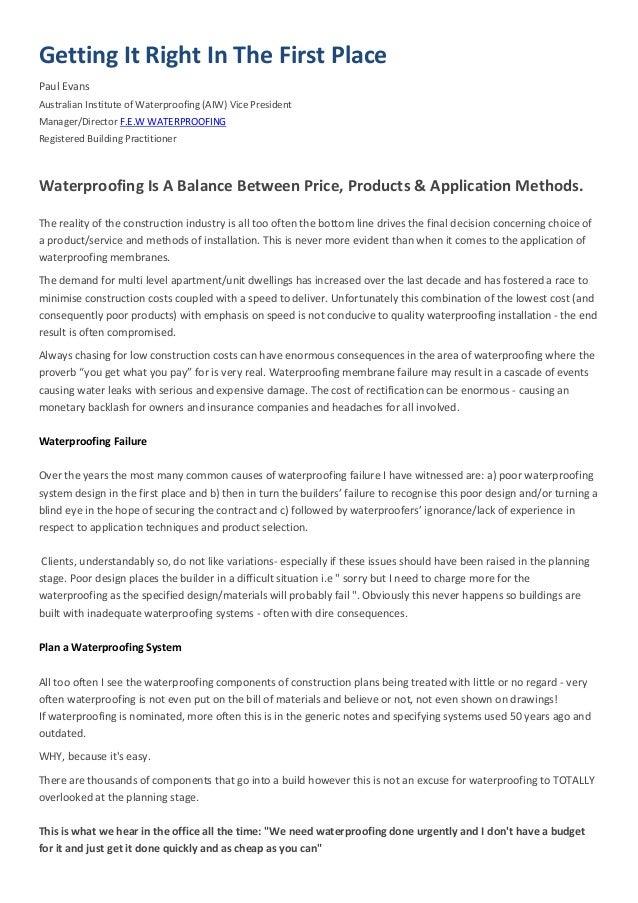 Waterproofing is a balance between price quality method for Terrace waterproofing methods