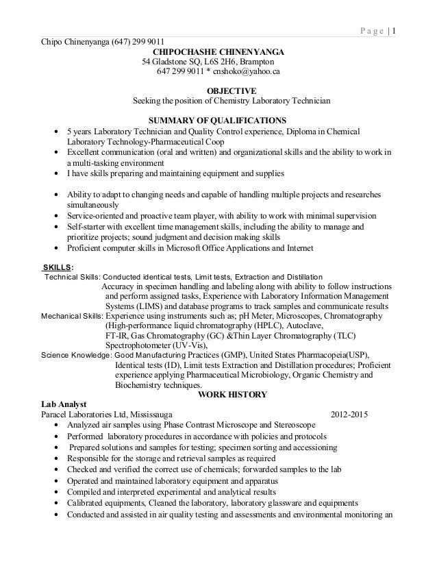 Lab Technician Resume 2015 Lab Technician Resume 2015. P a g e | 1 ...