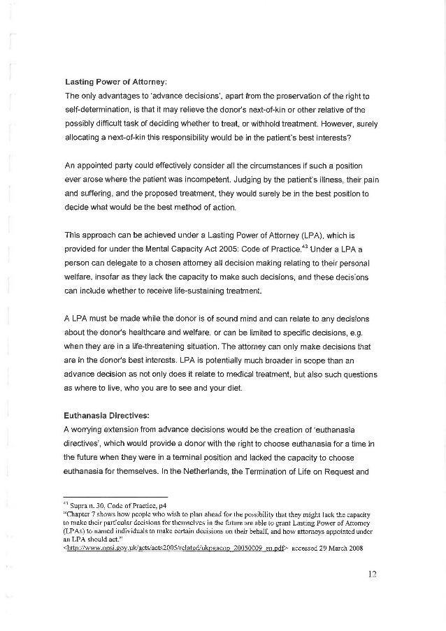 Advance directive dissertation