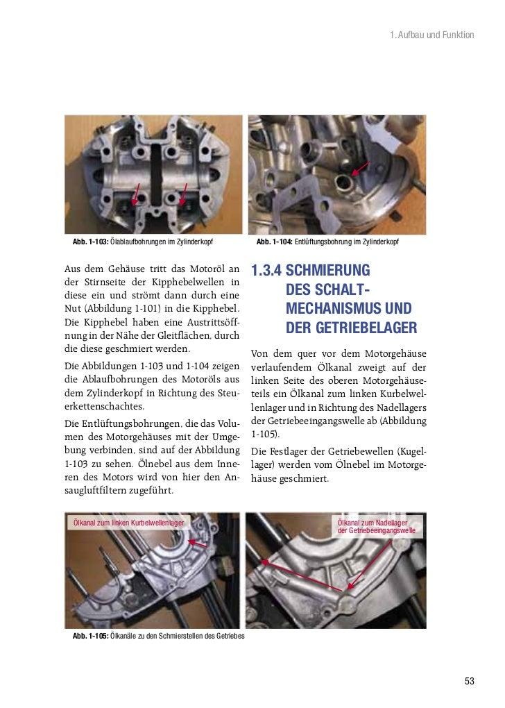 1. Aufbau und Funktion Abb. 1-103: Ölablaufbohrungen im Zylinderkopf               Abb. 1-104: Entlüftungsbohrung im Zylin...