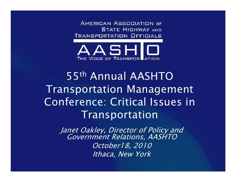 Transportation Management Conference: Critical Issues in Transportation