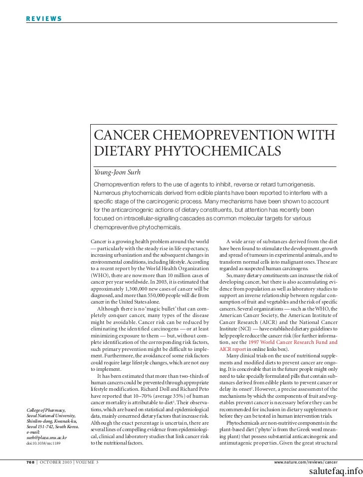 Cancer chemoprevention with dietary phytochemicals