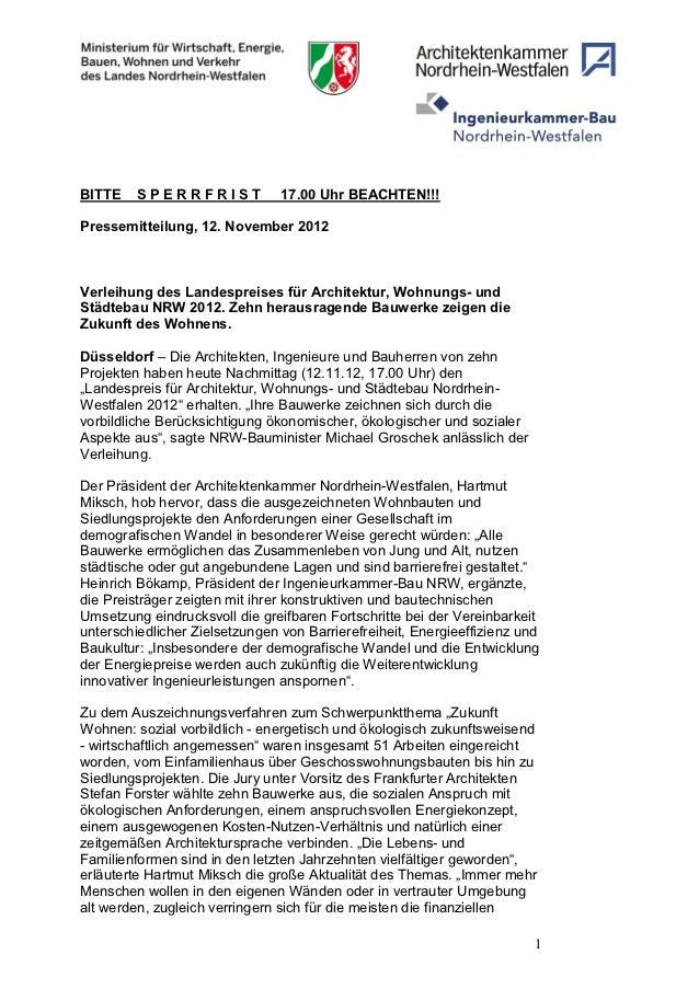 BITTE    SPERRFRIST             17.00 Uhr BEACHTEN!!!Pressemitteilung, 12. November 2012Verleihung des Landespreises für A...