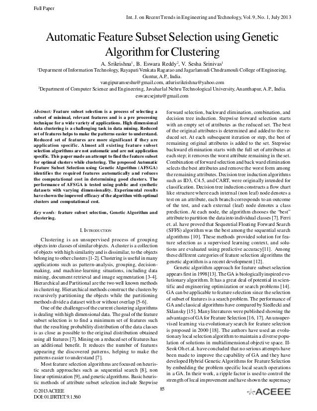 Full Paper Int. J. on Recent Trends in Engineering and Technology, Vol. 9, No. 1, July 2013  Automatic Feature Subset Sele...