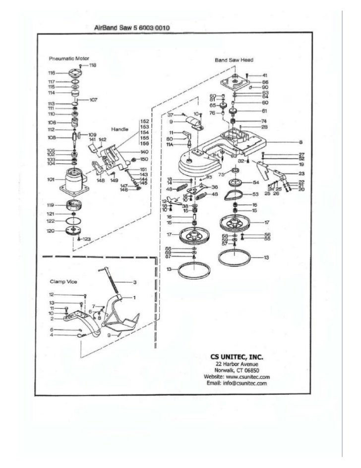 CS Unitec Pneumatic Band Saw Schematic: 5 6003 0010