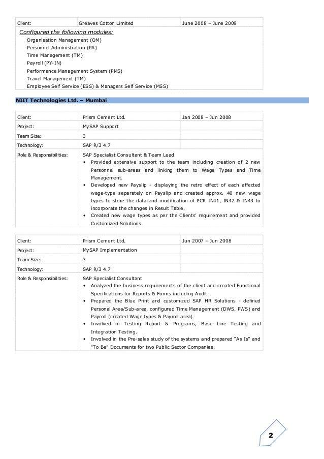 Sap hcm manager resume