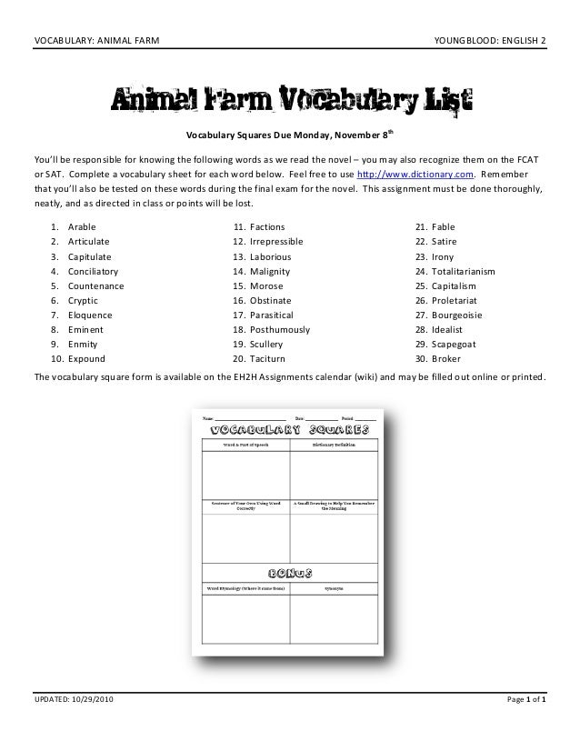 VOCABULARY: ANIMAL FARM    YOUNGBLOOD: ENGLISH 2  Animal Farm Vocabulary List Vocabulary Squares Due Monday, November 8th ...