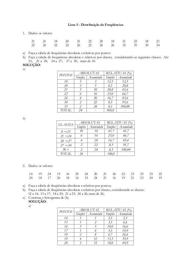 Lista 5 - Distribuição de Freqüências  1. Dados os valores  21 21 18 20 21 22 20 18 21 22 18 21  22 26 22 22 26 22 26 26 3...