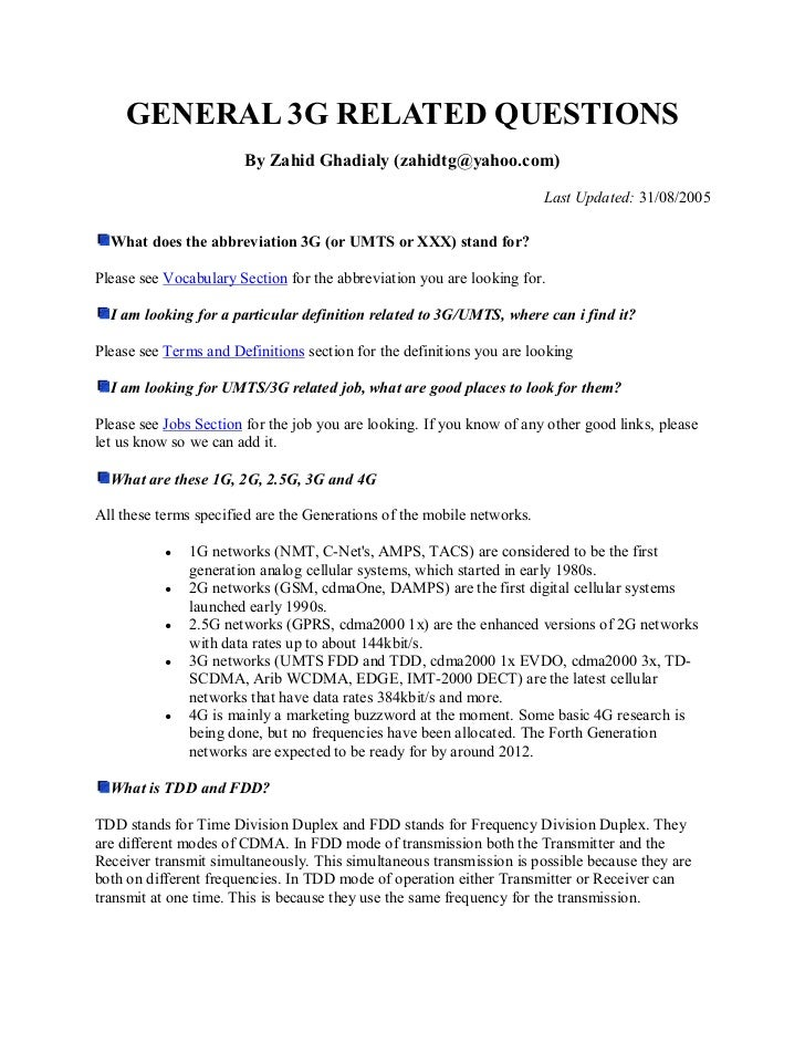 GENERAL 3G RELATED QUESTIONS                       By Zahid Ghadialy (zahidtg@yahoo.com)                                  ...