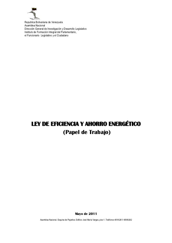 Republica Bolivariana de VenezuelaAsamblea NacionalDirección General de Investigación y Desarrollo LegislativoInstituto de...