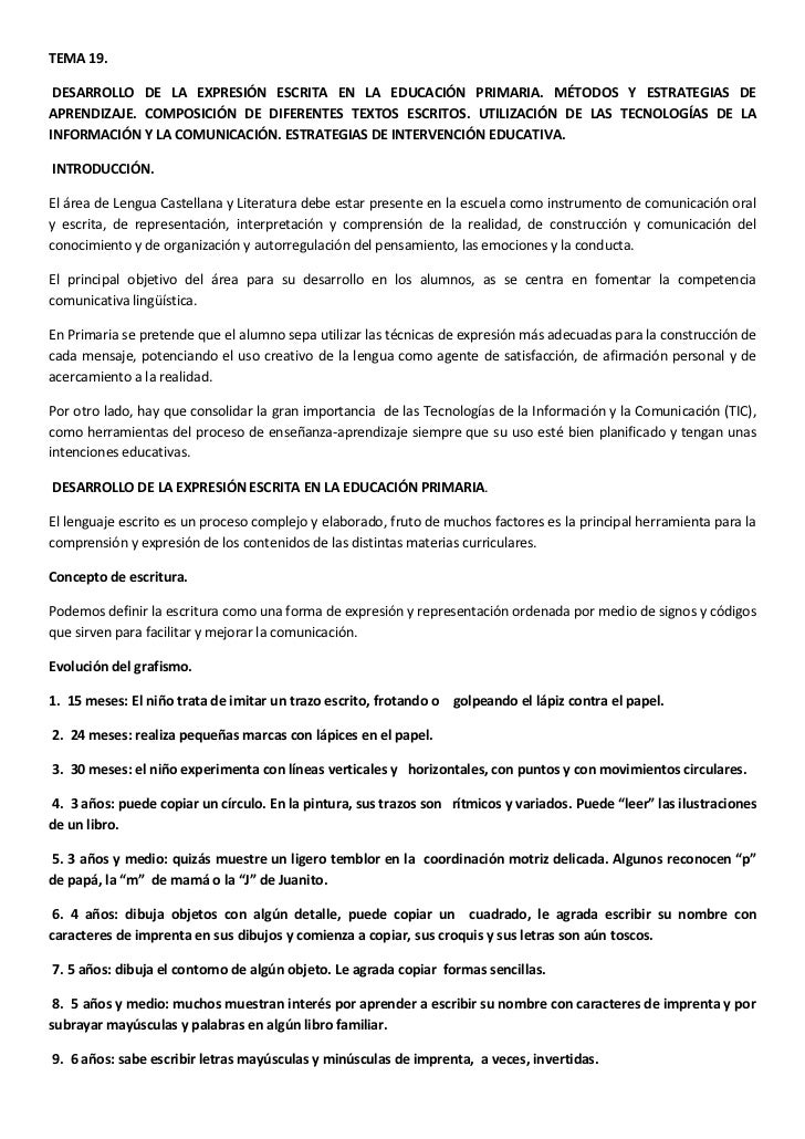 TEMA 19.<br /> DESARROLLO DE LA EXPRESIÓN ESCRITA EN LA EDUCACIÓN PRIMARIA. MÉTODOS Y ESTRATEGIAS DE APRENDIZAJE. COMPOSIC...