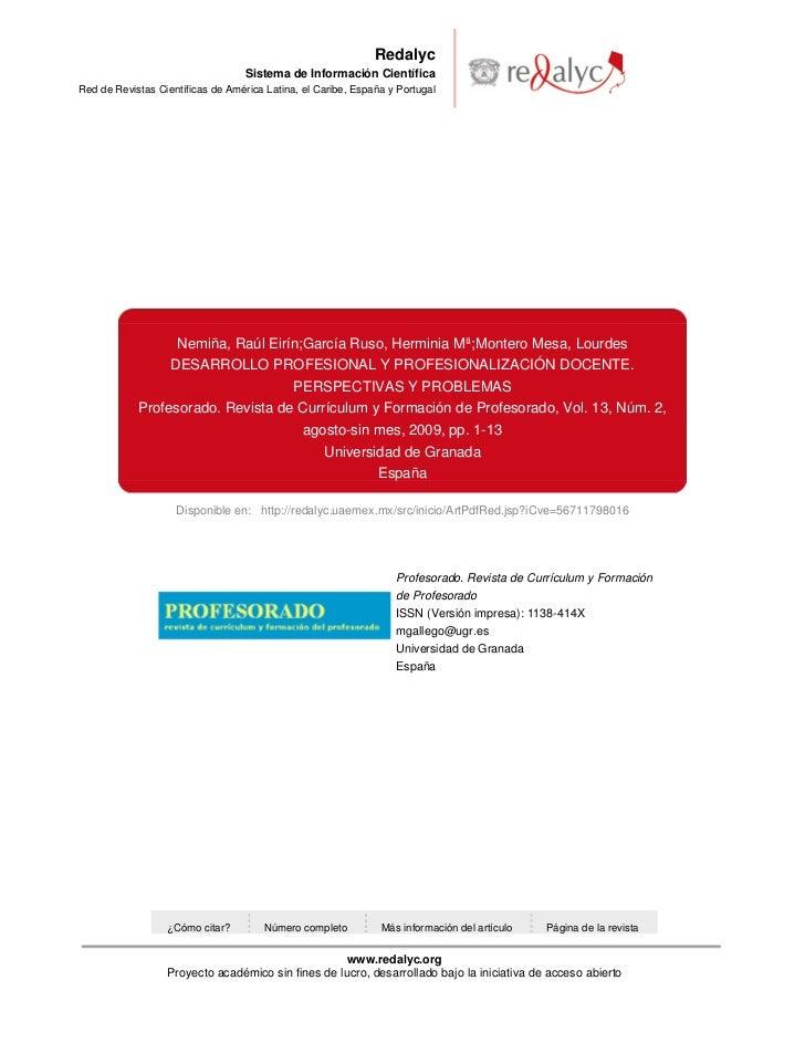 Desarrollo profesional, y profesionalización docente. Perspectivas y problemas.