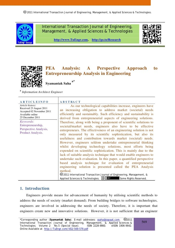 PEA Analysis: A Perspective Approach to Entrepreneurship Analysis in Engineering