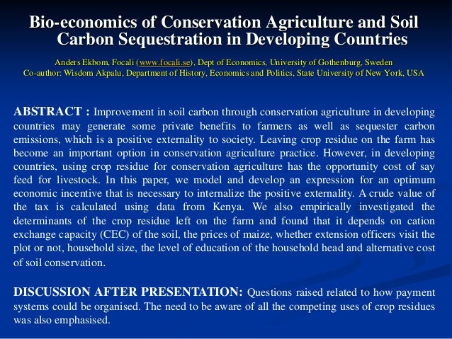 Bioeconomics of Conservation Agriculture and Soil Carbon Sequestration in Developing Countries