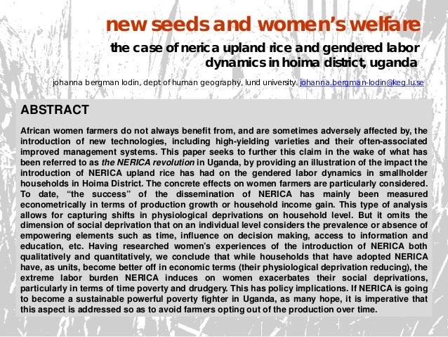 new seeds and women's welfare johanna bergman lodin, dept of human geography, lund university. johanna.bergman-lodin@keg.l...