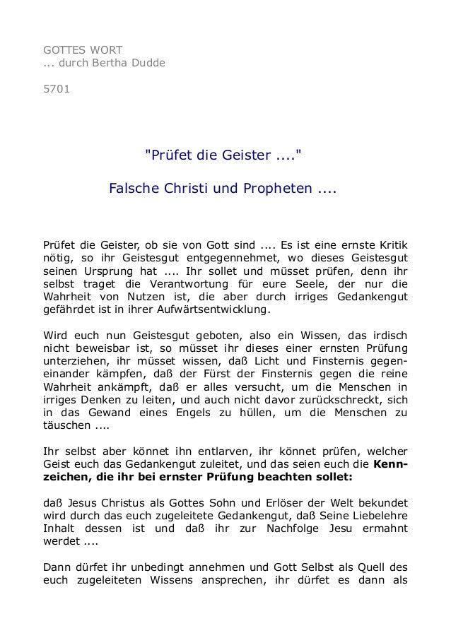 """GOTTES WORT ... durch Bertha Dudde 5701 """"Prüfet die Geister ...."""" Falsche Christi und Propheten .... Prüfet die Geister, o..."""