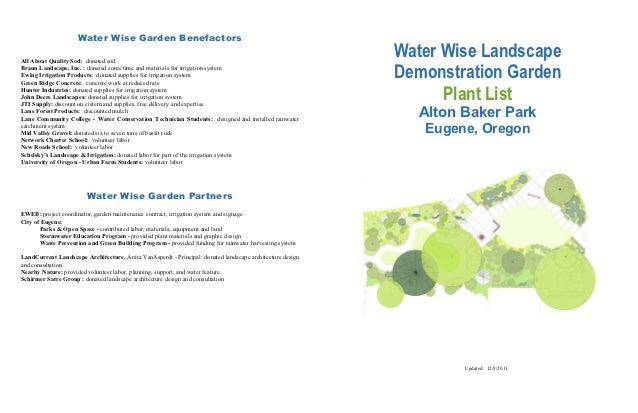 Water Wise Landscape Demonstration Garden Plant List - Eugene, Oregon