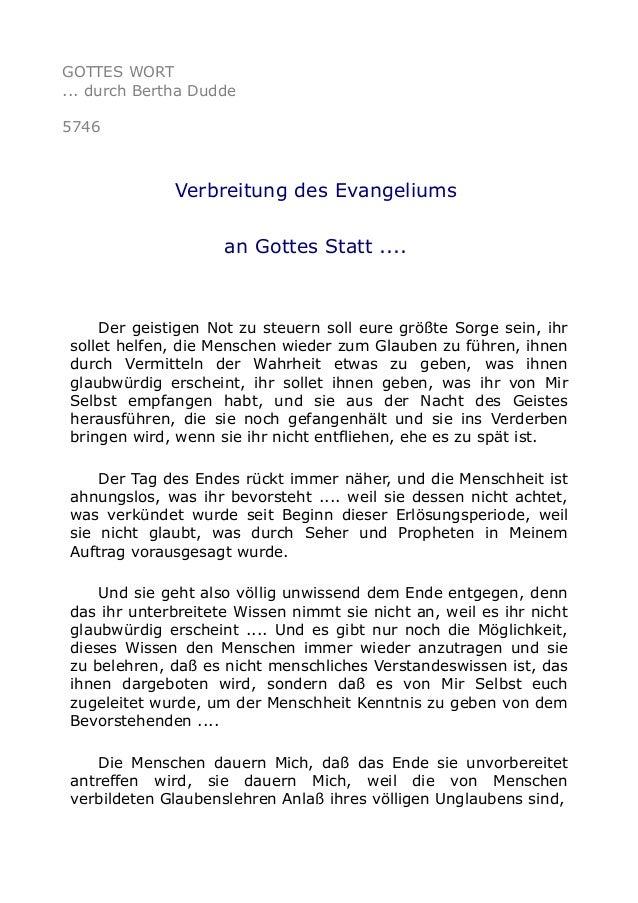 GOTTES WORT ... durch Bertha Dudde 5746 Verbreitung des Evangeliums an Gottes Statt .... Der geistigen Not zu steuern soll...