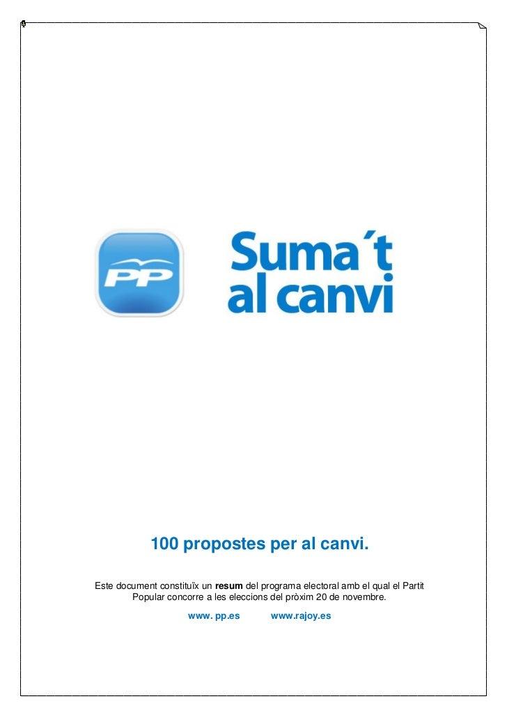 Resum del programa electoral del PP en valencià.