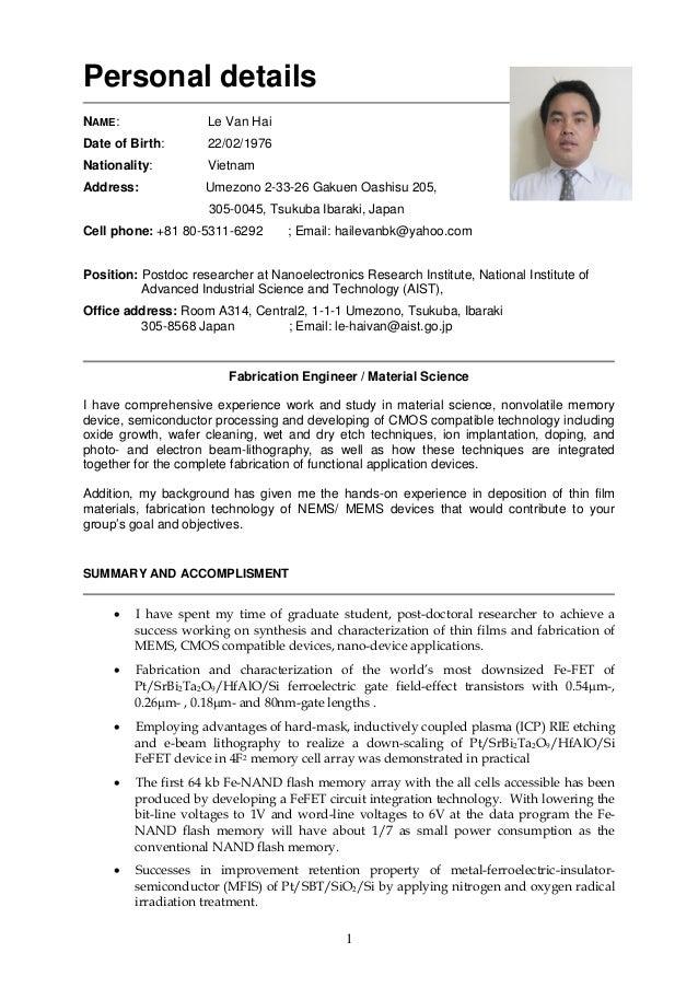 Optics semiconductor phd resume
