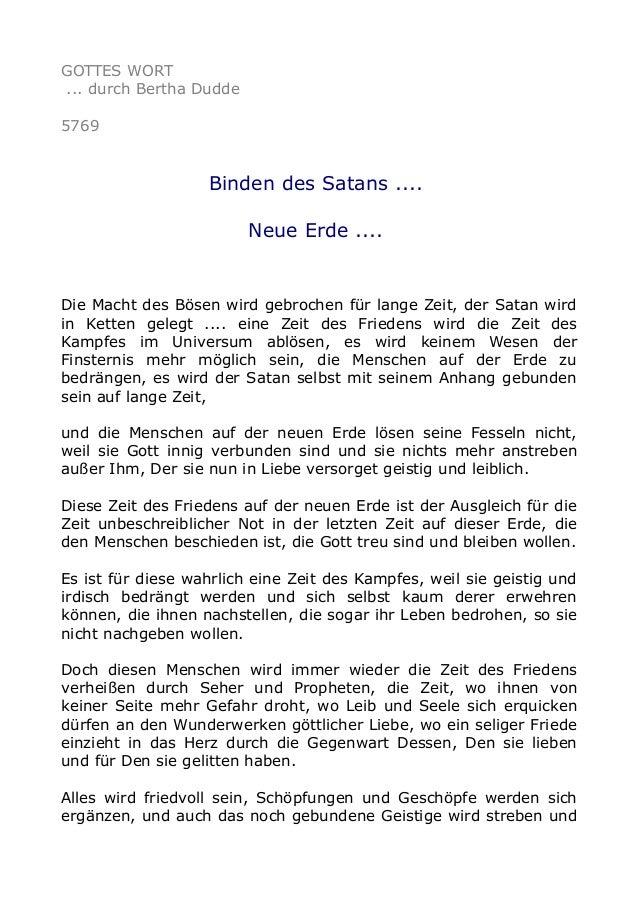 GOTTES WORT ... durch Bertha Dudde 5769 Binden des Satans .... Neue Erde .... Die Macht des Bösen wird gebrochen für lange...