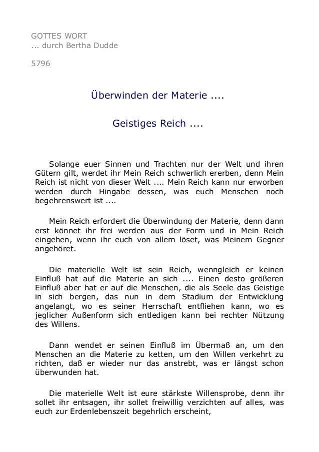 GOTTES WORT ... durch Bertha Dudde 5796 Überwinden der Materie .... Geistiges Reich .... Solange euer Sinnen und Trachten ...