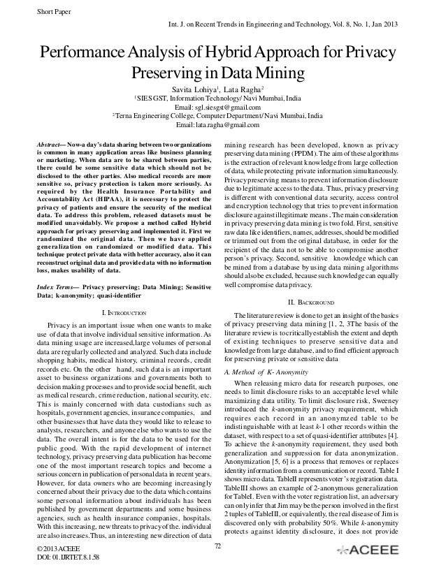 Short Paper Int. J. on Recent Trends in Engineering and Technology, Vol. 8, No. 1, Jan 2013  Performance Analysis of Hybri...