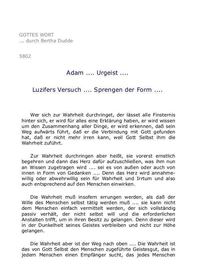 GOTTES WORT  ... durch Bertha Dudde  5802  Adam .... Urgeist ....  Luzifers Versuch .... Sprengen der Form ....  Wer sich ...