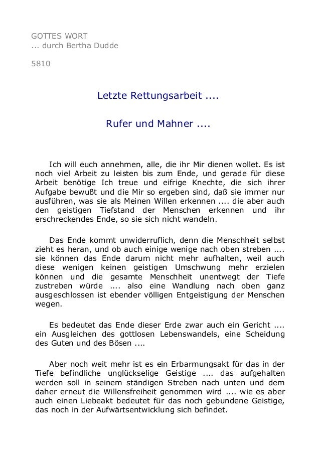 GOTTES WORT  ... durch Bertha Dudde  5810  Letzte Rettungsarbeit ....  Rufer und Mahner ....  Ich will euch annehmen, alle...