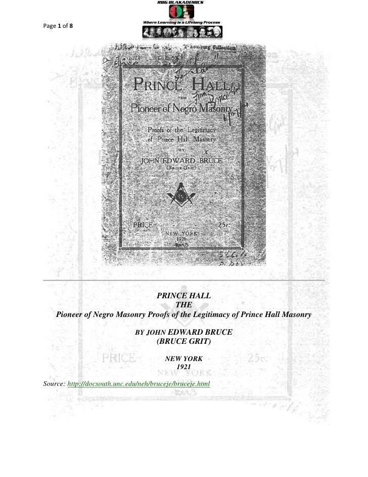 Page 1 of 8                               PRINCE HALL                                     THE    Pioneer of Negro Masonry ...