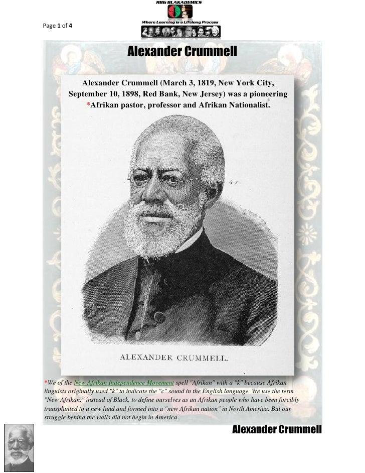 Alexander Crummell, Afrikan Pastor, Professor and Afrikan Nationalist