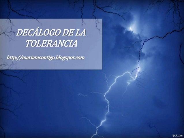 DECÁLOGO DE LA TOLERANCIA