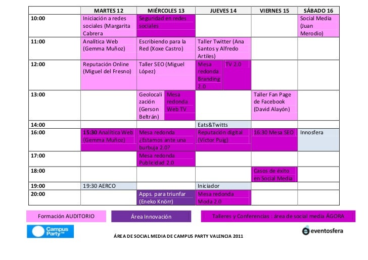 Agenda Área Social Media Campus Party Valencia 2011