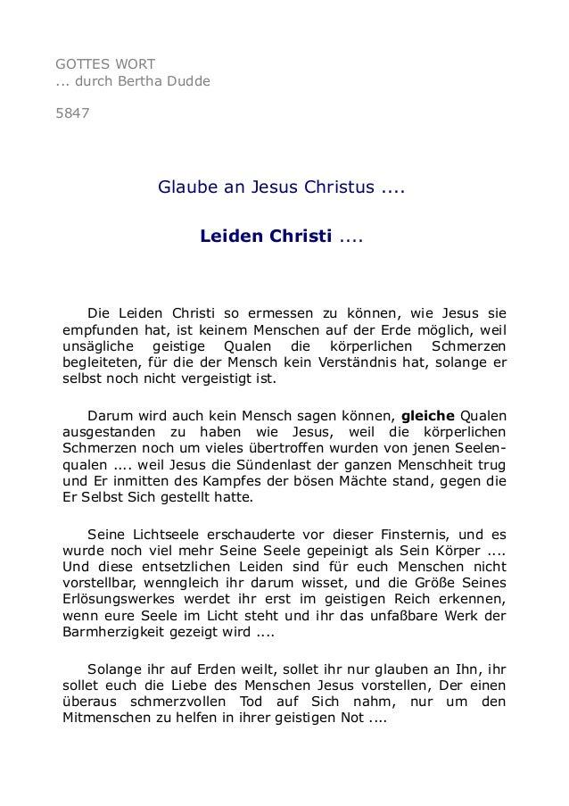 GOTTES WORT  ... durch Bertha Dudde  5847  Glaube an Jesus Christus ....  Leiden Christi ....  Die Leiden Christi so ermes...