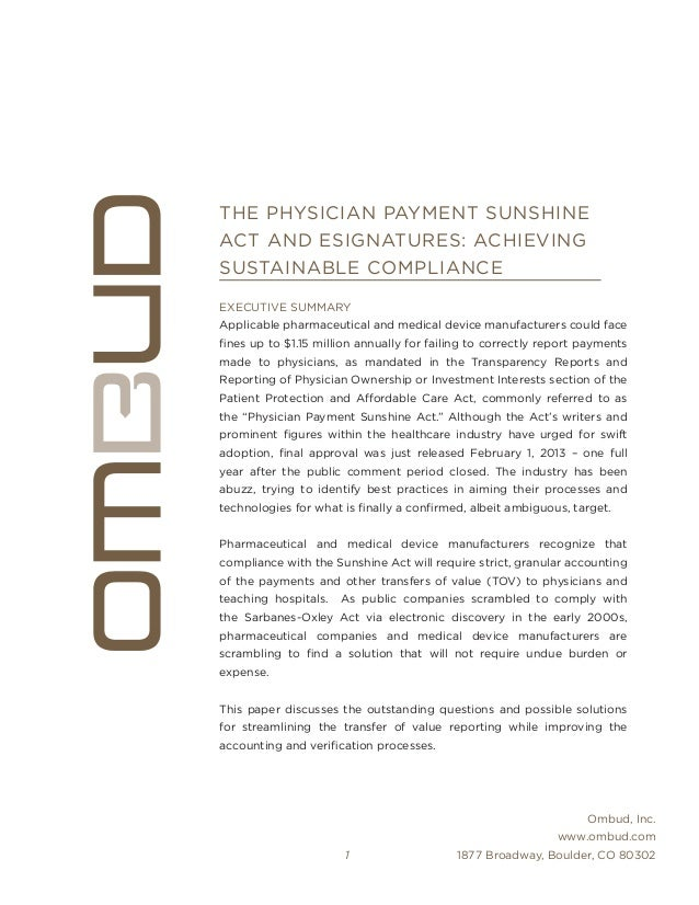 OMBUD THE PHYSICIAN PAYMENT SUNSHINE ACT AND ESIGNATURES
