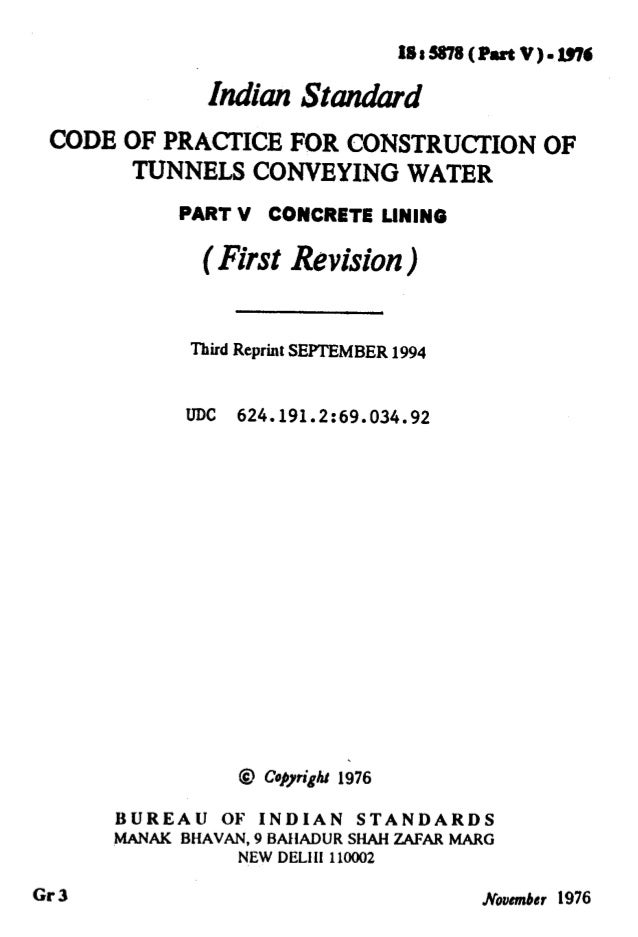 IF -, .— . ..  y..' J ' ... I .— lS1S878(Part V)=1976 hdhn StandW CODE OF PRACTICE FOR CONSTRUCTION OF TUNNELS CONVEYING W...
