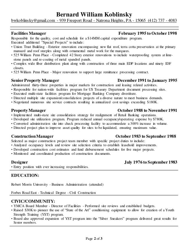 resume facilities coordinator 28 images facilities