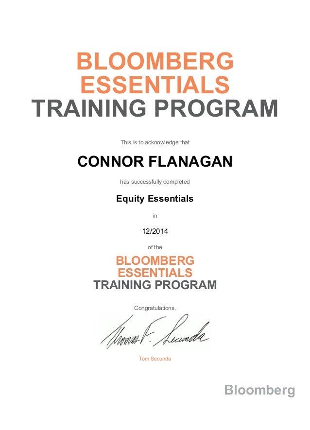 Bloomberg essentials certification resume