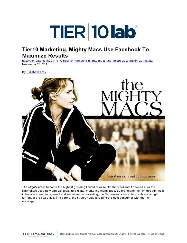 Tier10 Marketing, Mighty Macs Use Facebook To Maximize Results