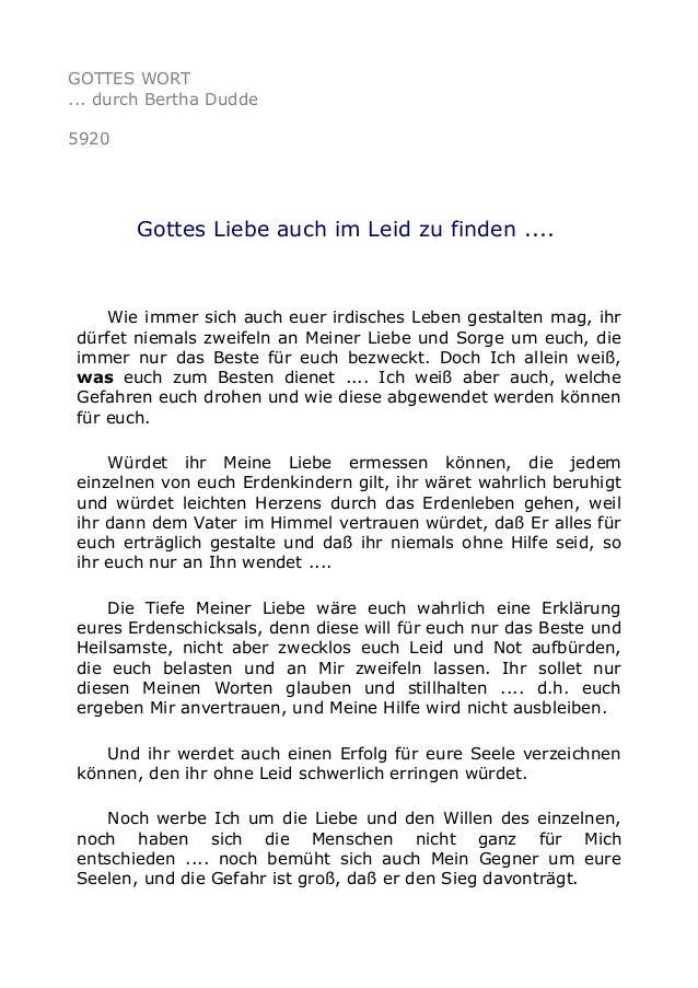 GOTTES WORT  ... durch Bertha Dudde  5920  Gottes Liebe auch im Leid zu finden ....  Wie immer sich auch euer irdisches Le...