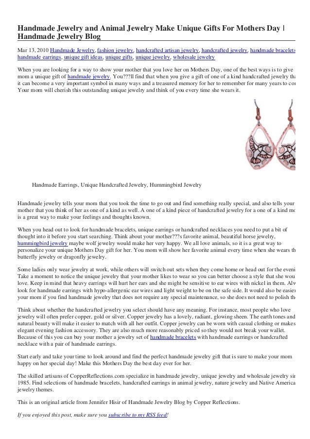 Handmade Jewelry and Animal Jewelry Make Unique Gifts For Mothers Day | Handmade Jewelry Blog Mar 13, 2010 Handmade Jewelr...