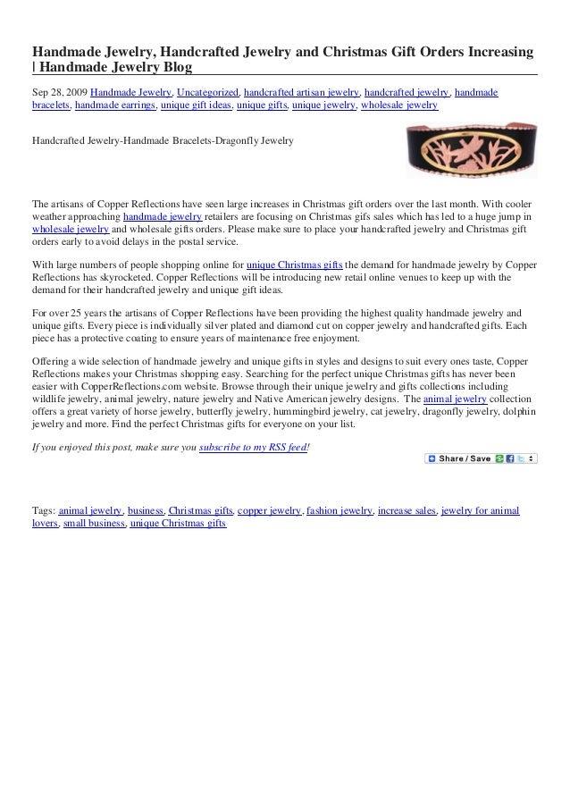 Handmade Jewelry, Handcrafted Jewelry and Christmas Gift Orders Increasing | Handmade Jewelry Blog Sep 28, 2009 Handmade J...