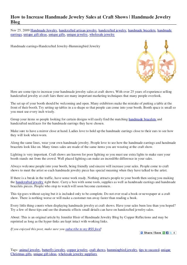 How to Increase Handmade Jewelry Sales at Craft Shows | Handmade Jewelry Blog Nov 25, 2009 Handmade Jewelry, handcrafted a...